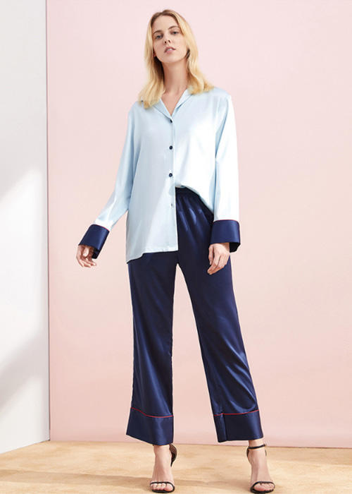 Imitated Fabric Silk Pajamas Set