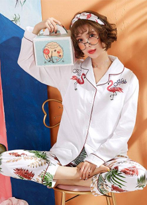 Cotton Long-sleeved Flamingo Women Pajamas
