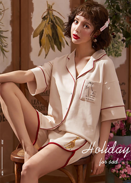 Cotton Half-sleeve Cartoon Fashion Pajama Set