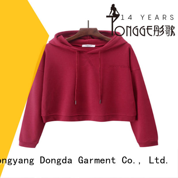 Dongda skin-friendly women's pullover hoodies short for international market